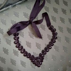 🌻 3/20 H&M Black Ribbon Tie Statement Necklace